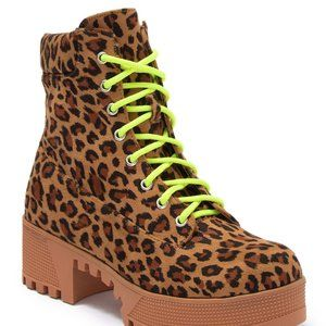Leopard Neon Platform Combat Boots